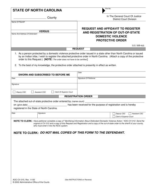 Form AOC-CV-315  Printable Pdf