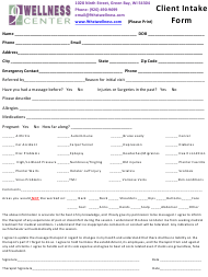 """""""Client Intake Form - 9th St Wellness Center"""""""