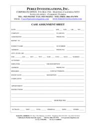 """Case Assignment Sheet Template - Perez Investigations, Inc."" - California"