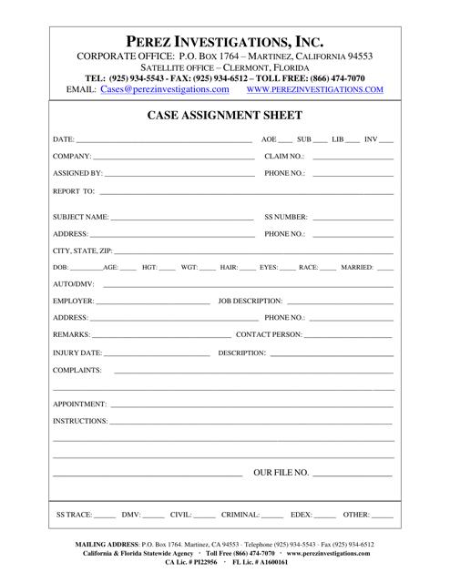 """Case Assignment Sheet Template - Perez Investigations, Inc."" - California Download Pdf"