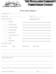 Work Order Request Form - the Woodlands Community Presbyterian Church