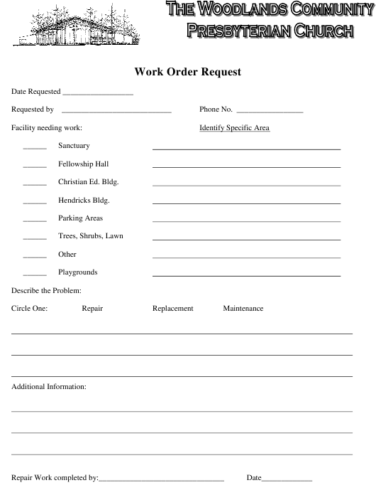 """""""Work Order Request Form - the Woodlands Community Presbyterian Church"""" Download Pdf"""