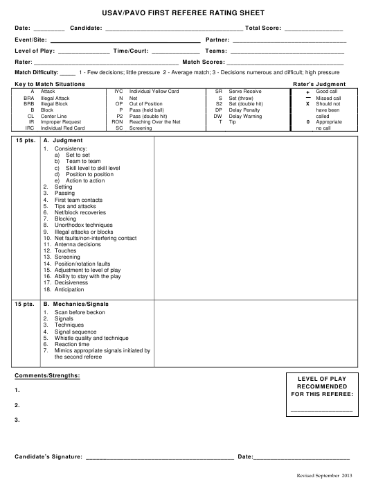 """""""Volleyball Match Rating Sheet Template - Usav/Pavo First Referee"""" Download Pdf"""