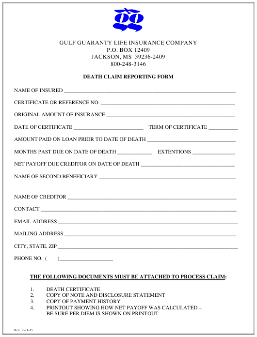 """Death Claim Reporting Form - Gulf Guaranty Life Insurance Company"" Download Pdf"
