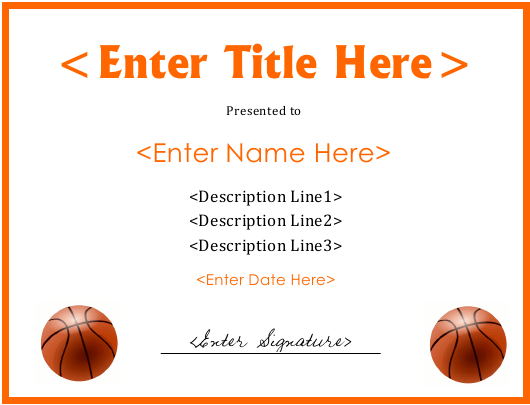 Basketball Certificate Template Download Fillable PDF | Templateroller