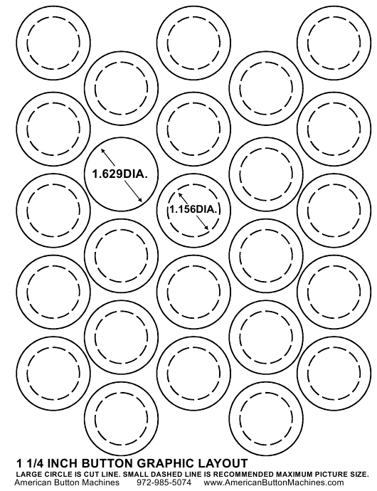 """1-1/4 Inches Button Graphic Layout Template"" Download Pdf"