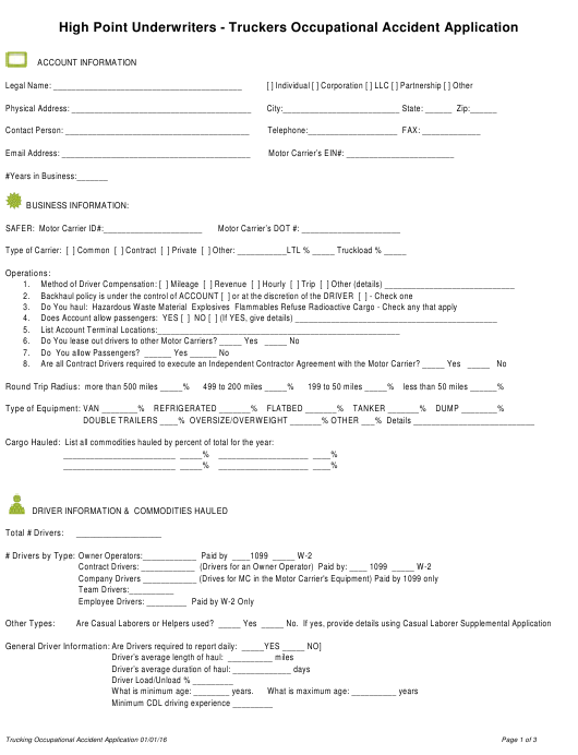 """""""Truckers Occupational Accident Application Form - High Point Underwriters"""" Download Pdf"""
