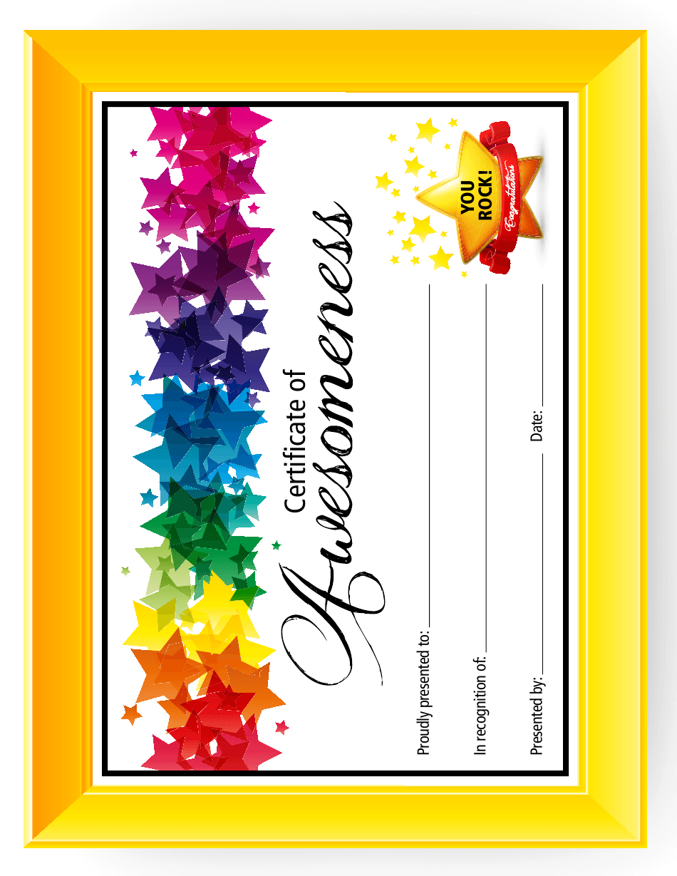 Certificate Of Awesomeness Template Download Printable Pdf Templateroller