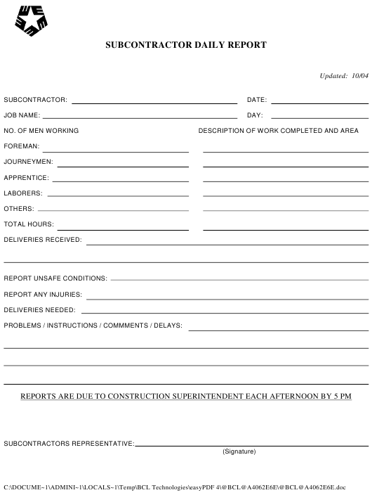 """Subcontractor Daily Report Template"" Download Pdf"