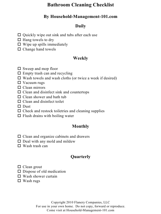 """""""Bathroom Cleaning Checklist Template - Flanery Companies"""" Download Pdf"""
