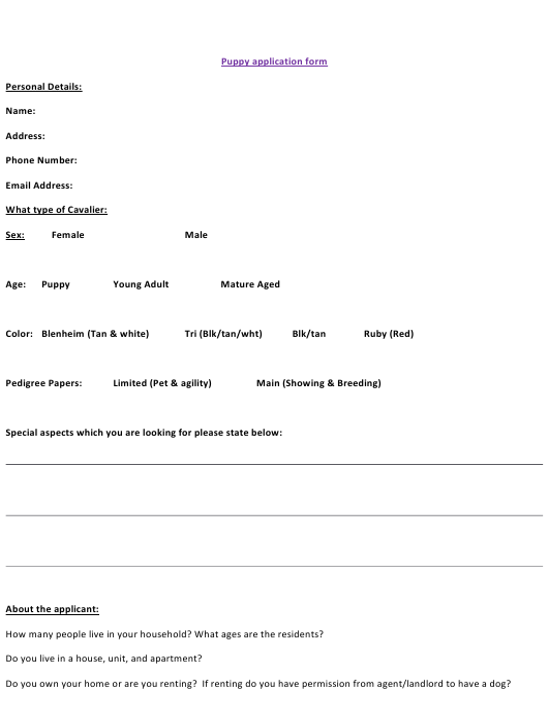 """Puppy Application Form"" Download Pdf"