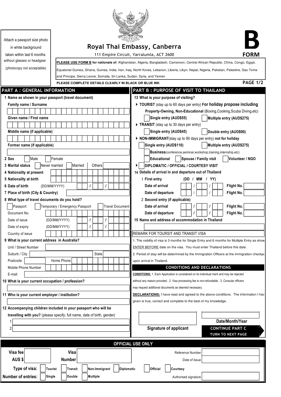 Form B Download Printable Pdf Or Fill Online Thai Visa Application Form Royal Thai Embassy Canberra Australia Templateroller