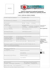 """Turkish Visa Application Form"" - Turkey"