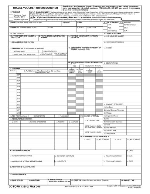 DD Form 1351-2  Fillable Pdf