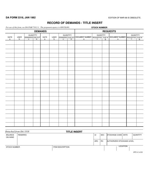 DA Form 3318 Fillable Pdf