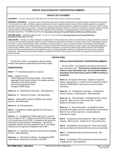 DD Form 2792-1 Fillable Pdf