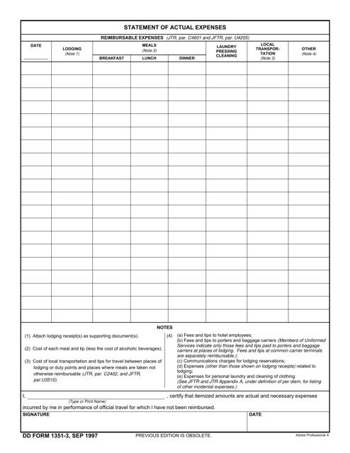 DD Form 1351-3  Printable Pdf