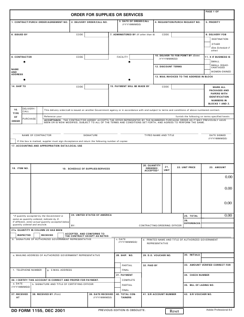DD Form 1155 Fillable Pdf
