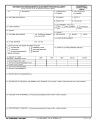 DA Form 5695 Information Management Requirement Project Document