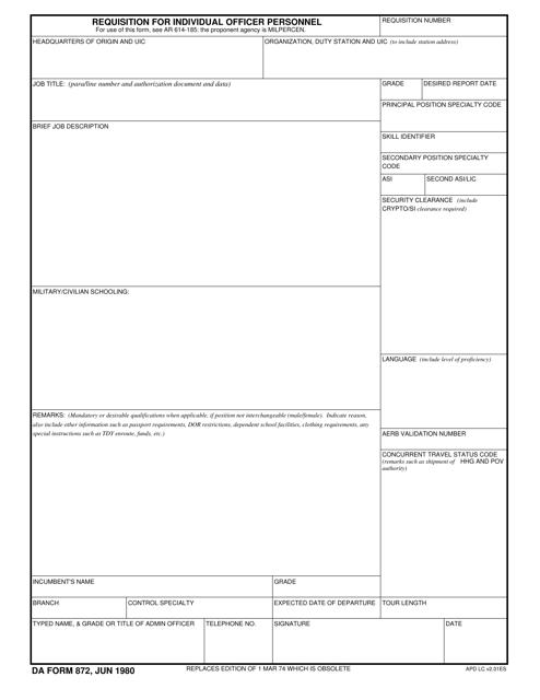 DA Form 872  Printable Pdf
