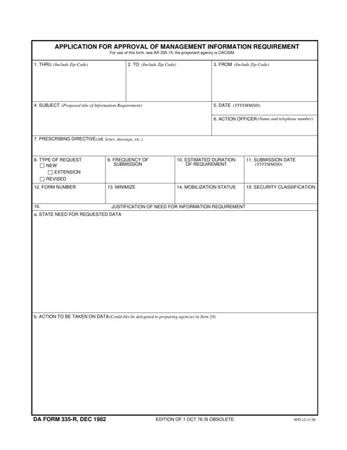 DA Form 335-R Printable Pdf