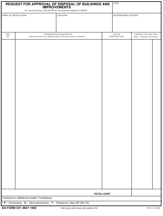 DA Form 337 Fillable Pdf