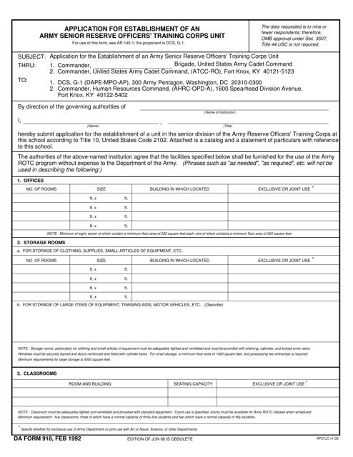 DA Form 918  Printable Pdf