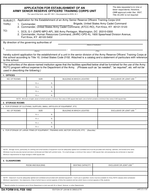 DA Form 918 Fillable Pdf