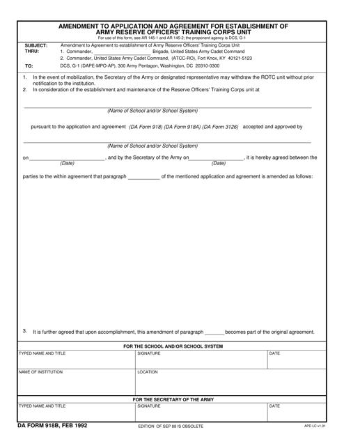 DA Form 918B  Fillable Pdf