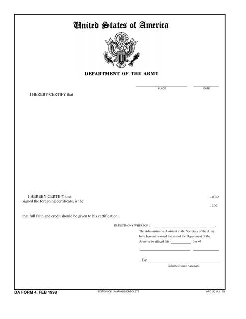 DA Form 4  Printable Pdf
