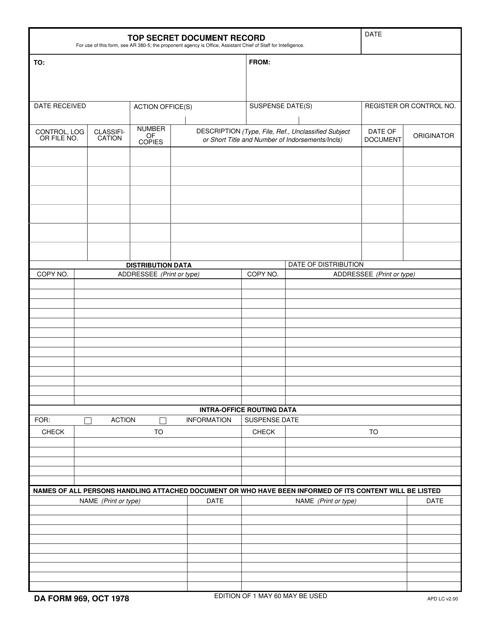 DA Form 969  Printable Pdf