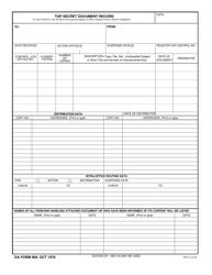 DA Form 969 Top Secret Document Record
