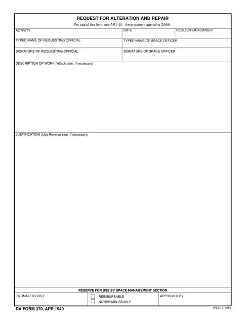 DA Form 370 Printable Pdf