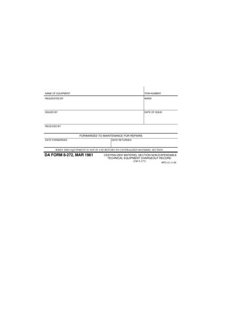 DA Form 8-272 Fillable Pdf