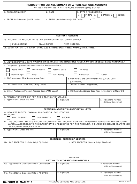 DA Form 12 Fillable Pdf