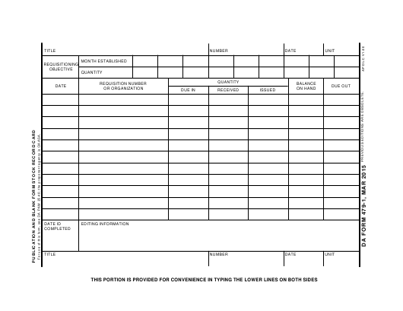 DA Form 479-1 Fillable Pdf