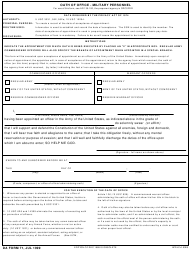 "DA Form 71 ""Oath of Office - Military Personnel"""