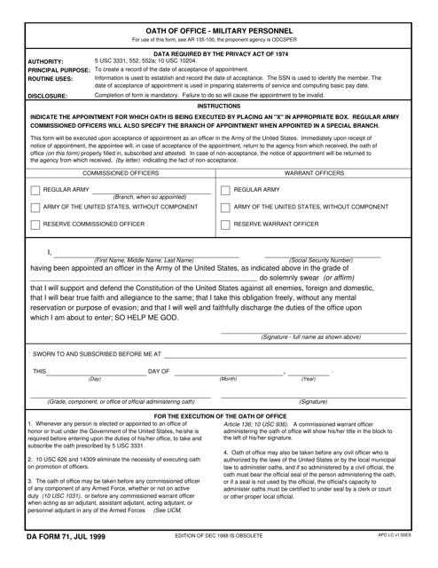 DA Form 71  Printable Pdf