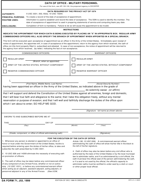 DA Form 71  Fillable Pdf