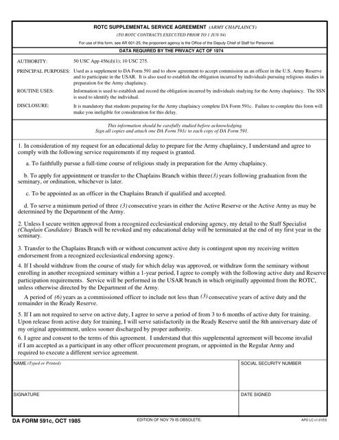 DA Form 591C  Printable Pdf