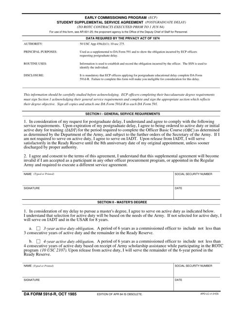 DA Form 591D-R Printable Pdf