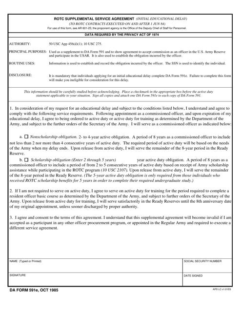 DA Form 591E Fillable Pdf