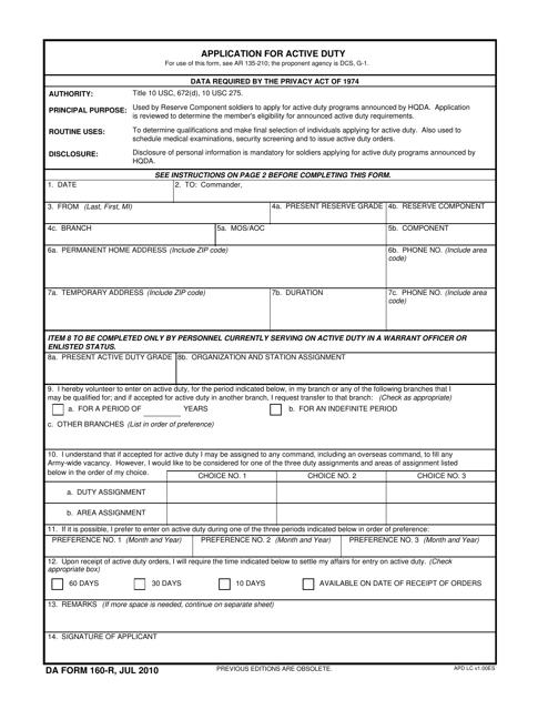 DA Form 160-R Fillable Pdf