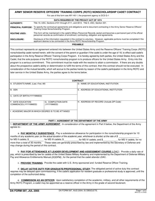 DA Form 597 Printable Pdf