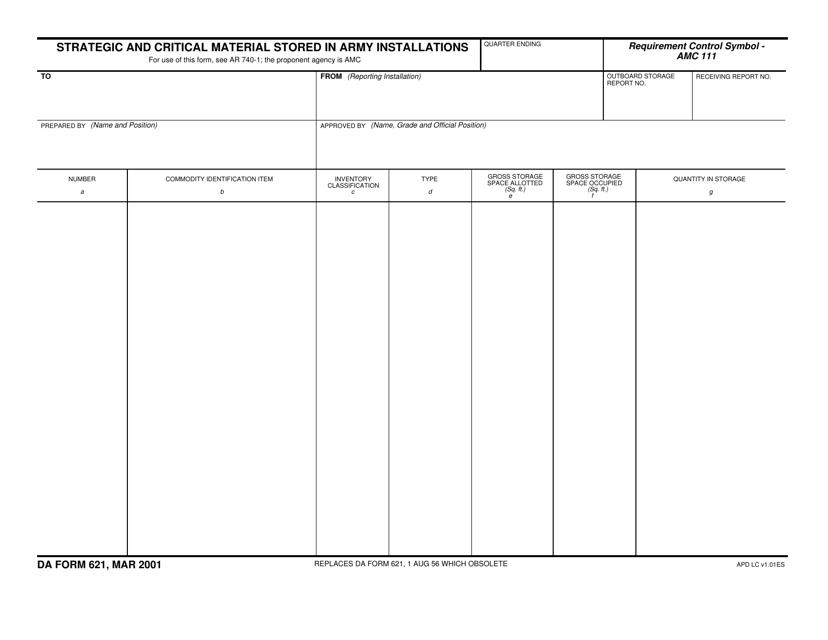 DA Form 621  Printable Pdf