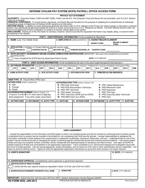 DD Form 2928  Printable Pdf