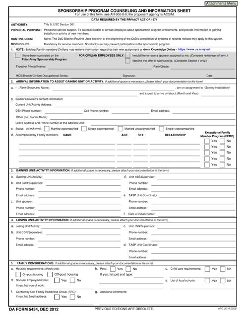 DA Form 5434  Fillable Pdf