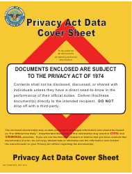 """DD Form 2923 """"Privacy Act Data Cover Sheet"""""""