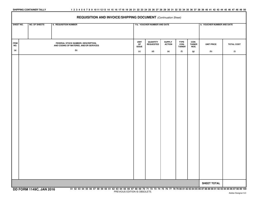 DD Form 1149C Fillable Pdf