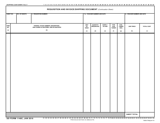 DD Form 1149C Fillable Pdf